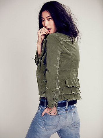 Free People Ruffle Back Twill Jacket