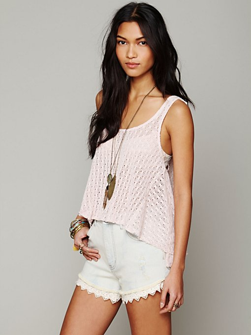 Free People Kate's Crochet Tank in beach-clothes