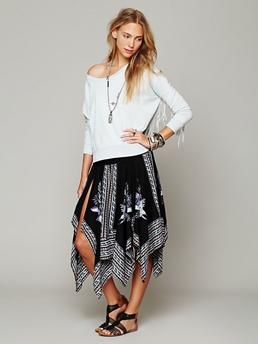 Free People Printed Squared Off Slip Skirt in black-maxi-dresses