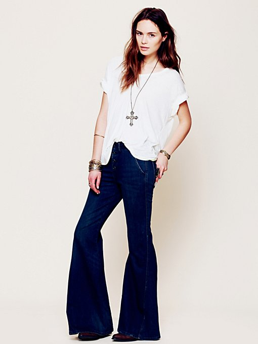 Free People Hi Rise Wideleg in Jeans