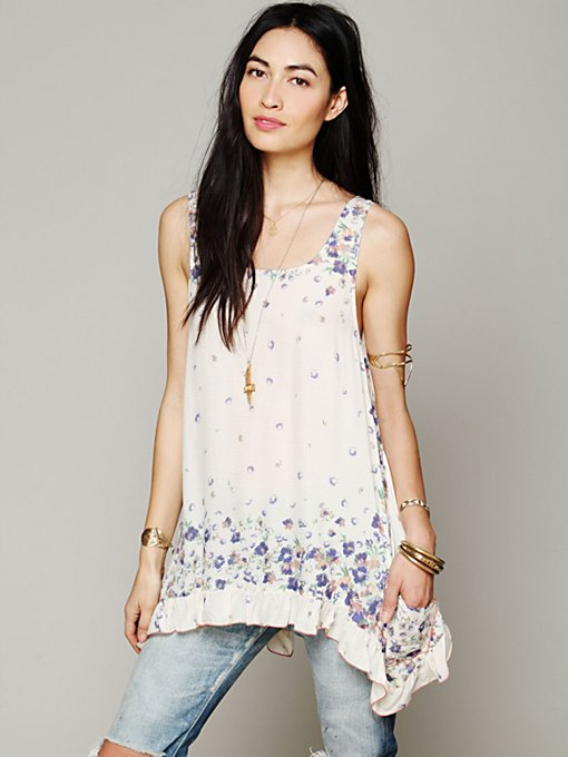 Free People Border Print Sleeveless Tunic in tops