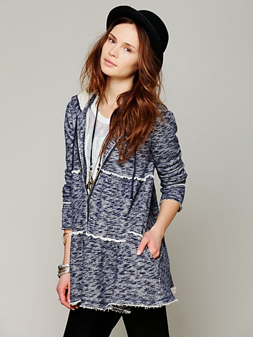 Free People Tiered Trapeze Zip Sweatshirt in Jackets