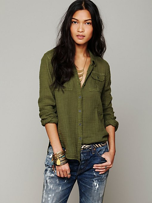 Free People Solid Gauze Button Down in Button-Down-Shirts