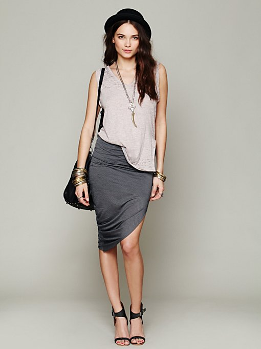 Jersey Asymmetrical Drape Skirt in clothes-skirts