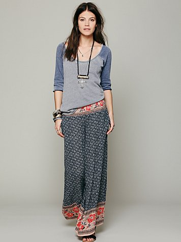 Free People Border Print Smocked Wideleg