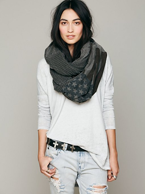 Free People American Flag Infinity Scarf in Chunky-Scarves