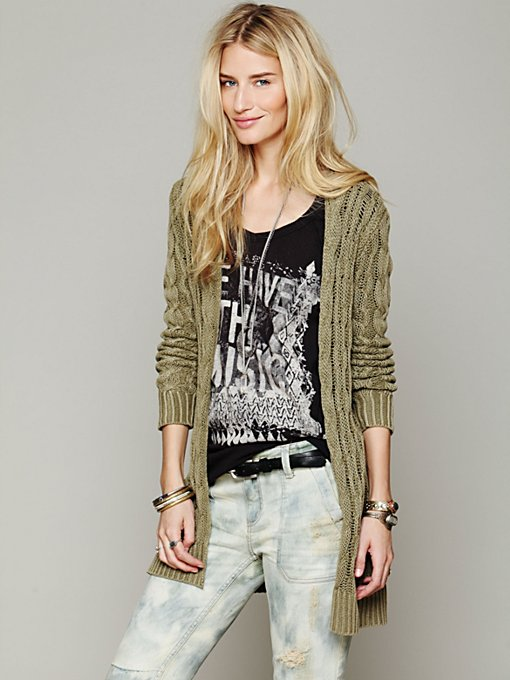 Free People Long Cable Cardigan in Sweaters