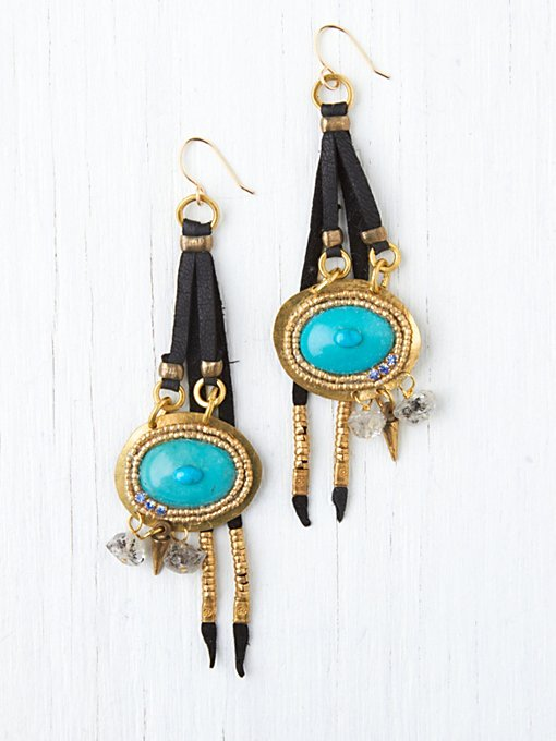 Leather and Stone Drop Earrings in accessories-jewelry