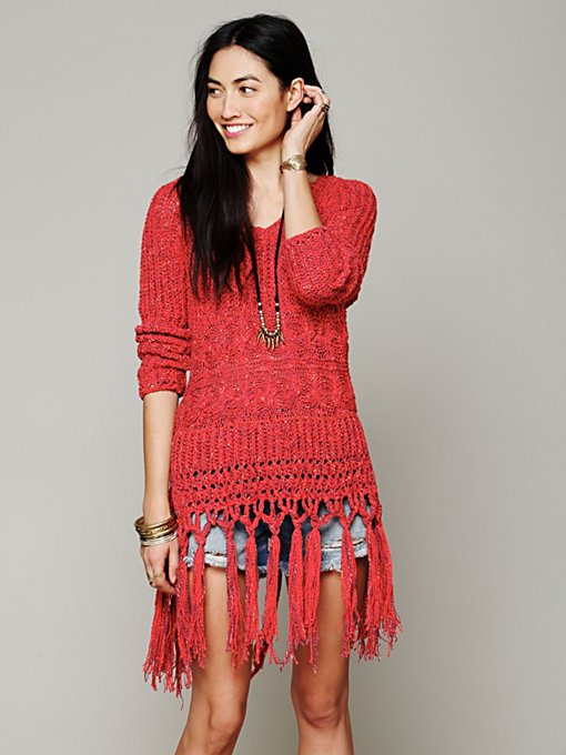 Free People Hooded Fringe Pullover in Cable-Knit-Sweaters