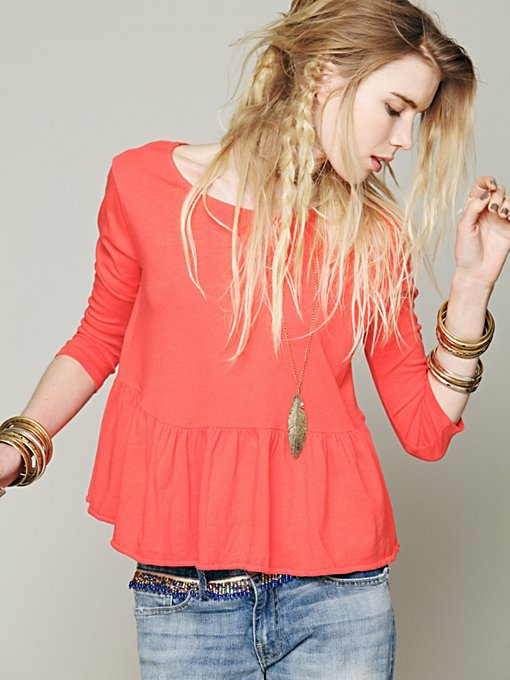 Free People We The Free Solid Peplum Tee in knit-tops