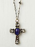 Brass Cross With Blue Stone Necklace