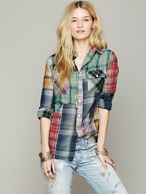 Artisan De Luxe Hi Low Patched Plaid Shirt in Plaid-Shirts