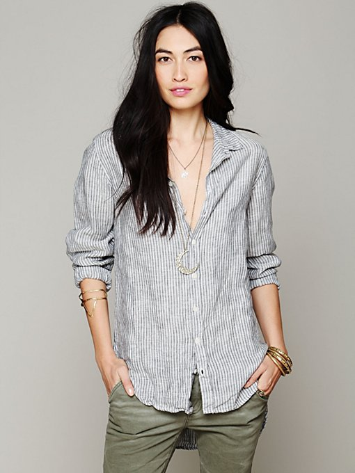 CP Shades Stripe Button Down Tunic in Button-Down-Shirts