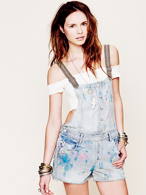Free People Muddy Waters Overall in Jean-Shorts