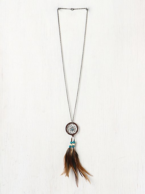 Feather Dream Catcher Necklace in beach-jewelry