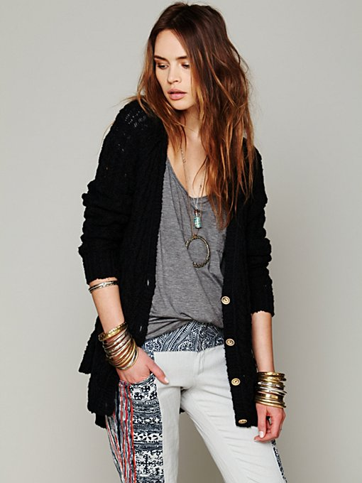 Free People Cable Cardigan in Sweaters