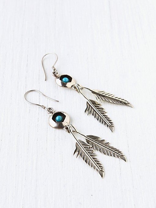 Stone And Feather Drop Earring in boutique-rings-earrings