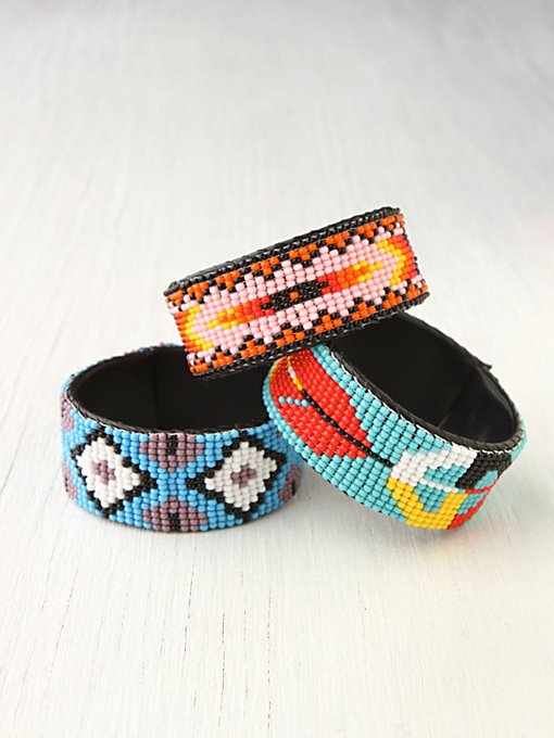 Beaded Design Open Cuff in bracelets