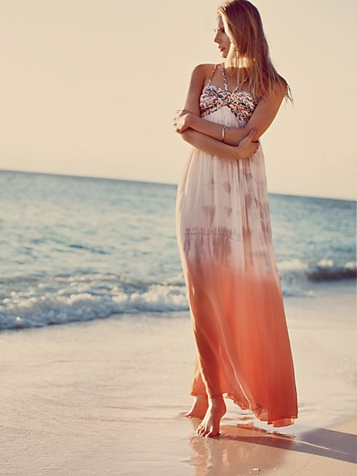 Free People Snake Goddess Maxi Dress in Chiffon-Dresses