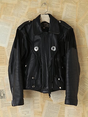 Free People Vintage Black Leather Fringe Jacket