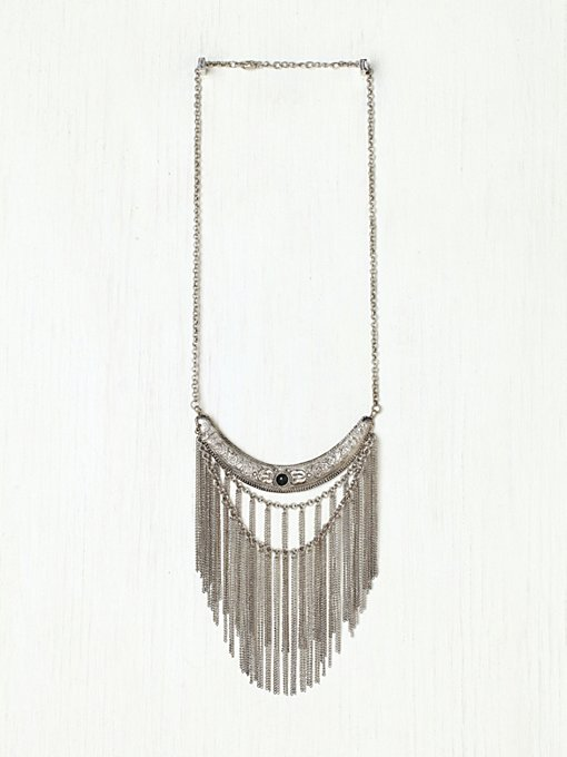 Stone Moon Fringe Collar in accessories-jewelry-necklaces