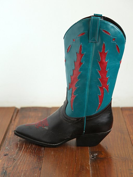 Free People Vintage Black and Turquoise Cowboy Boots in vintage-shoes