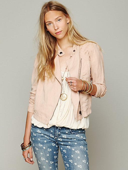 Free People Cutouts In Linen Jacket in lightweight-jackets