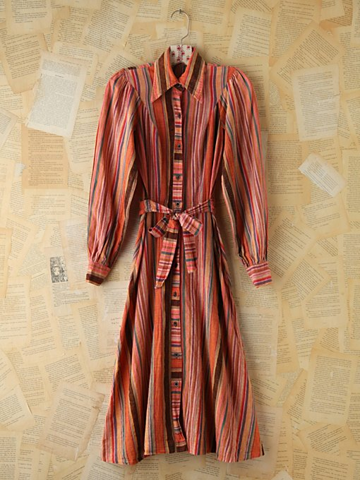 Free People Vintage Multicolor Striped Buttonfront Dress in Vintage-Dresses