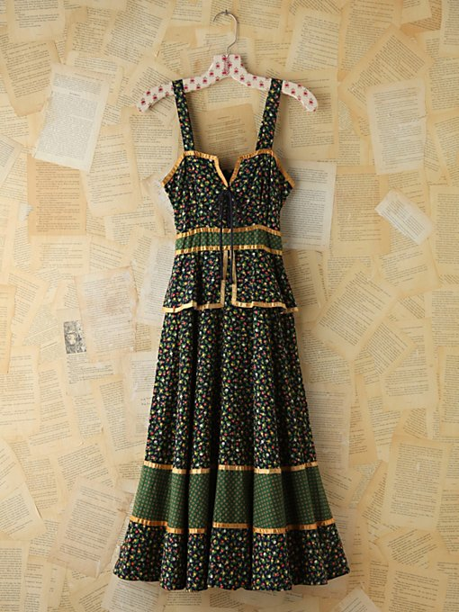 Free People Vintage Floral Printed Gunne Sax Dress in Vintage-Dresses