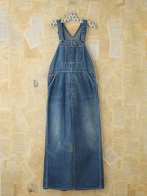 Free People Vintage Indigo Overall Dress in vintage-jeans