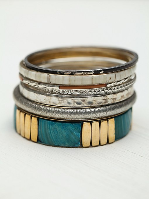 Tropical Hard Bangle Set in accessories-jewelry-bracelets