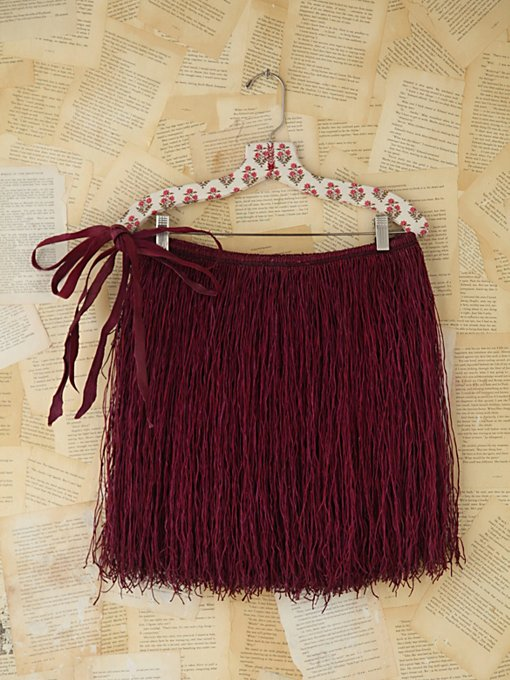 Free People Vintage West African Leather Fringe Skirt in vintage-skirts