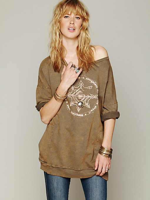 Free People Graphic Rolled Sleeve Pullover in hoodies-sweatshirts