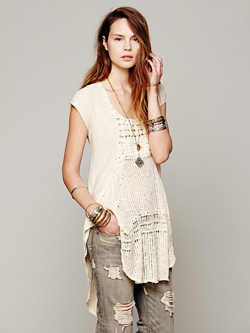 Free People Crochet Pieced Oversized