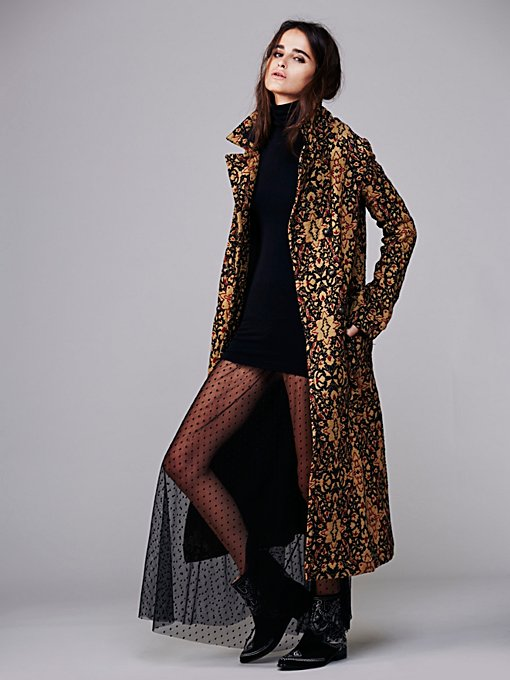 Free People Long Winded Tapestry Coat in Coats