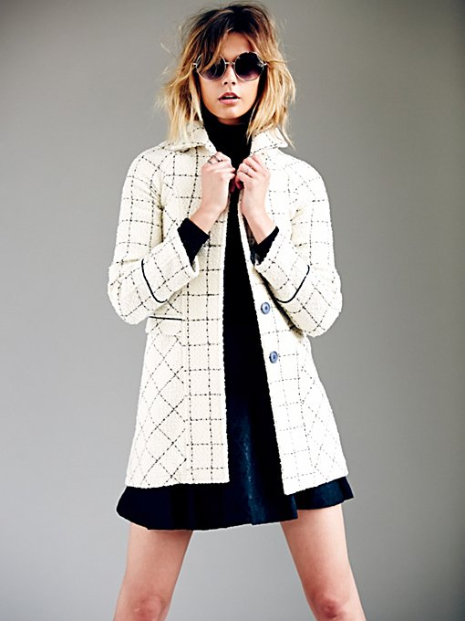 Ivory Black Femme Wool Coat in Coats