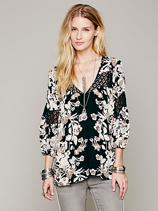 Free People Floral Printed Bubble Sleeve Tunic