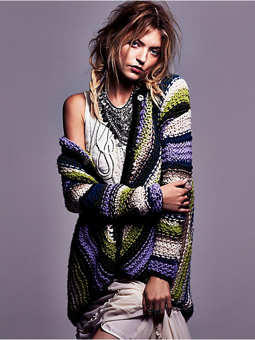 Free People Handknit Multicolor Cardi