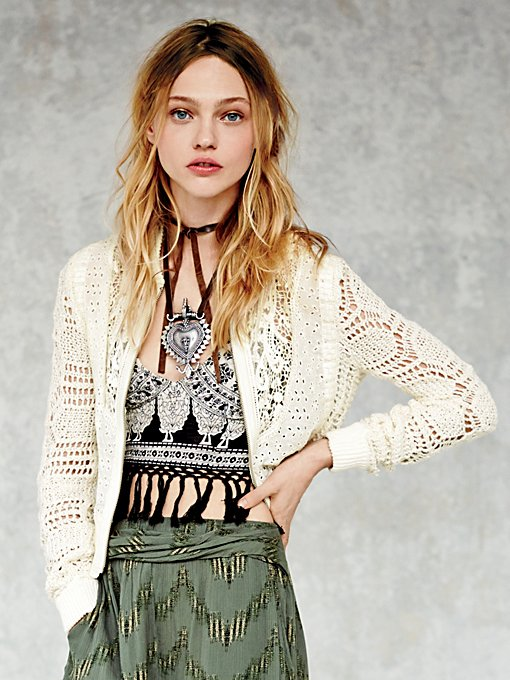 Free People Even in Eyelet Bomber Jacket